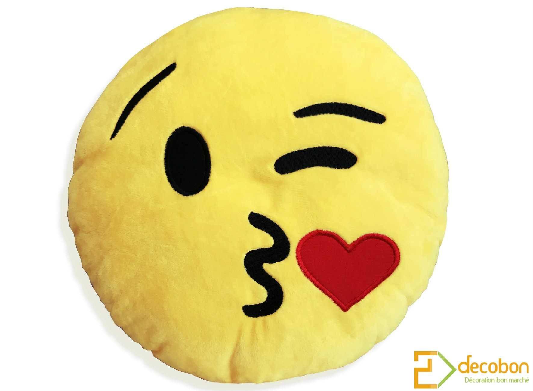Coussin peluche smiley emoji jaune tout doux bisou coeur animaux imaginaires - Smiley bisous iphone ...