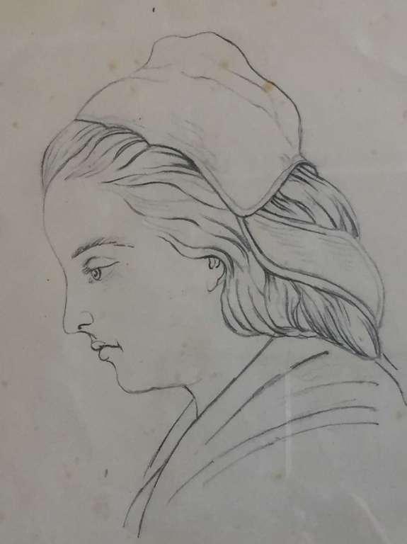 Dessin Au Crayon Sur Papier Portrait De Femme Annees 40 50 Arts