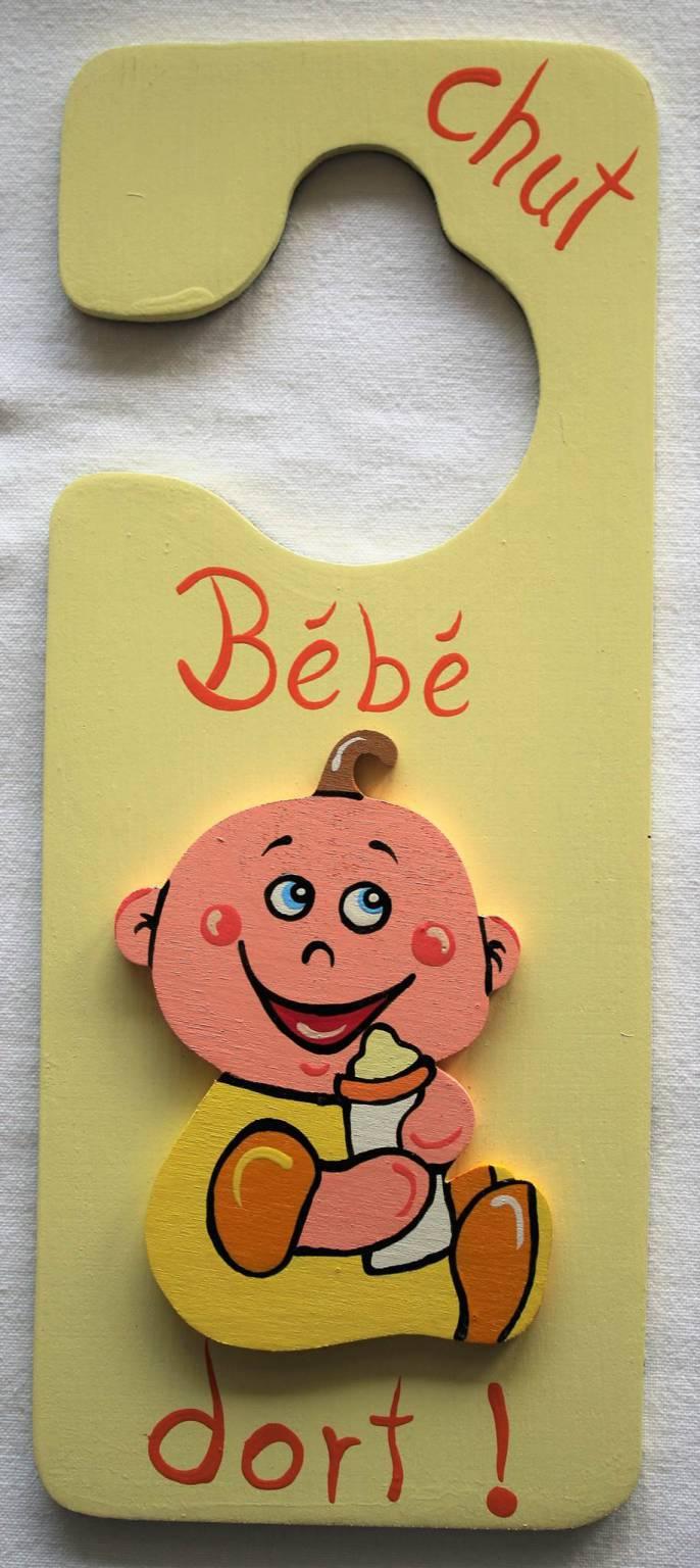 Panneau de porte chut b b dort jaune 1 recto verso for Chut bebe dort pancarte