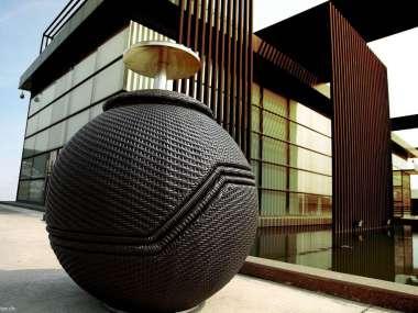 Salon d\'extérieur boule empilable en rotin synthétique