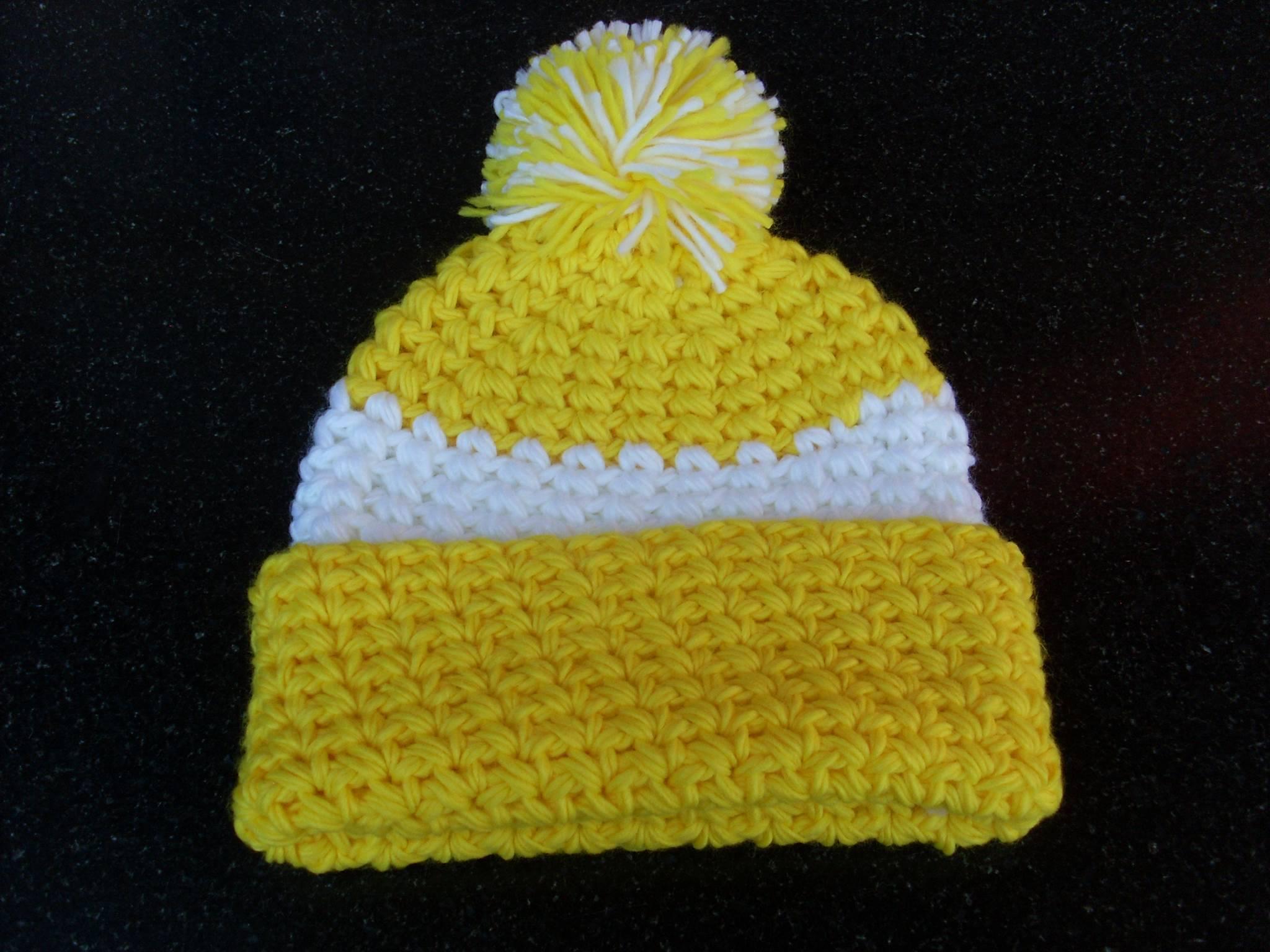 bonnet jaune et blanc avec pompon pour homme et femme bonnets casquettes. Black Bedroom Furniture Sets. Home Design Ideas