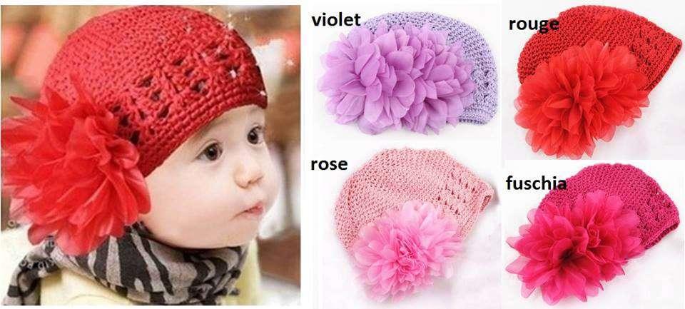 9a364ea65424 Bonnet en crochet pour bébé de 0 à 12 mois - Bonnets   Echarpes pour ...