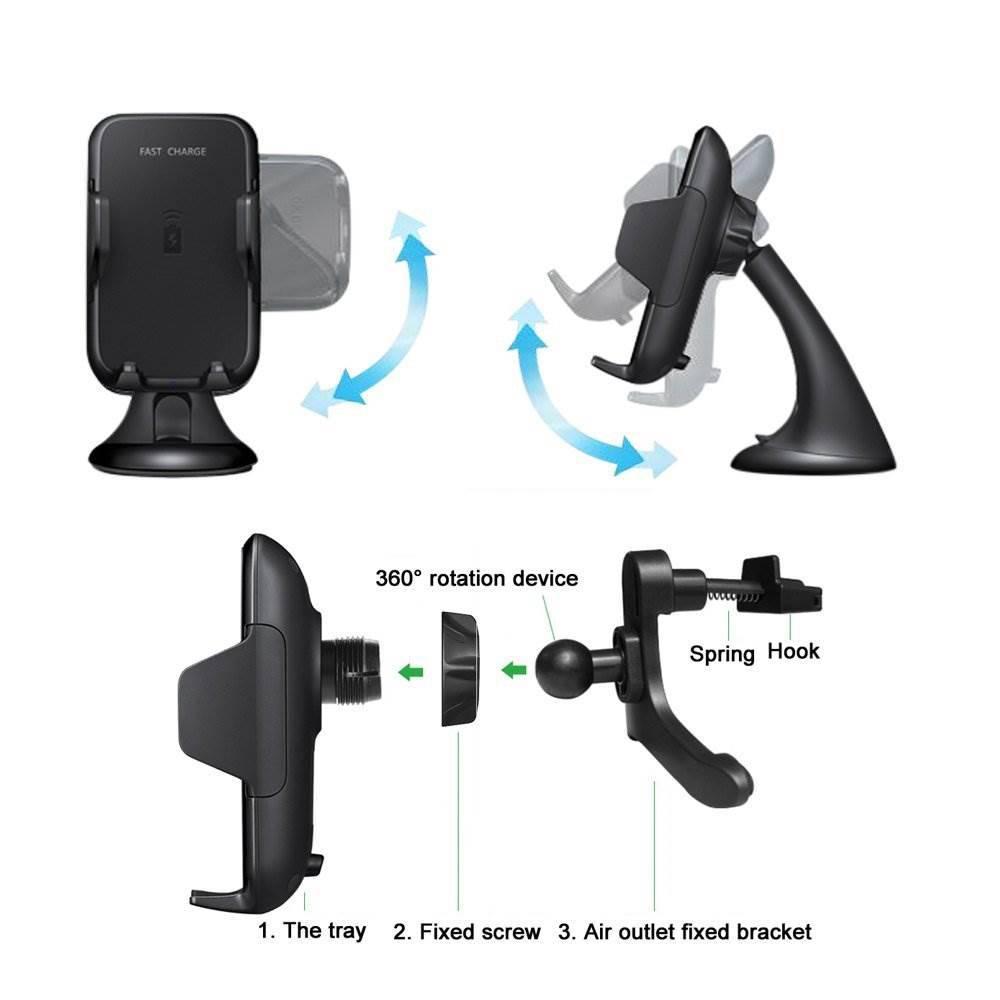 chargeur rapid qi induction avec deux support pour voiture. Black Bedroom Furniture Sets. Home Design Ideas