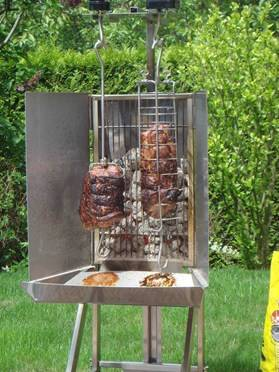 Grill vertical inox l chinger pour r ti jambon etc camping - Grille pour barbecue vertical ...