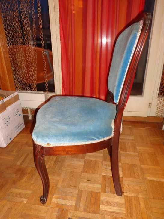 fauteuil velours bleu fauteuils lits anciens. Black Bedroom Furniture Sets. Home Design Ideas