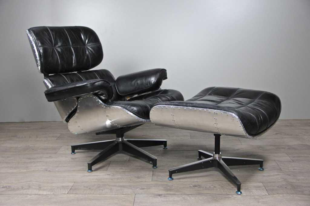 Fauteuil aviateur lindbergh et repose pieds cuir noir fauteuils - Fauteuil aviateur cuir ...