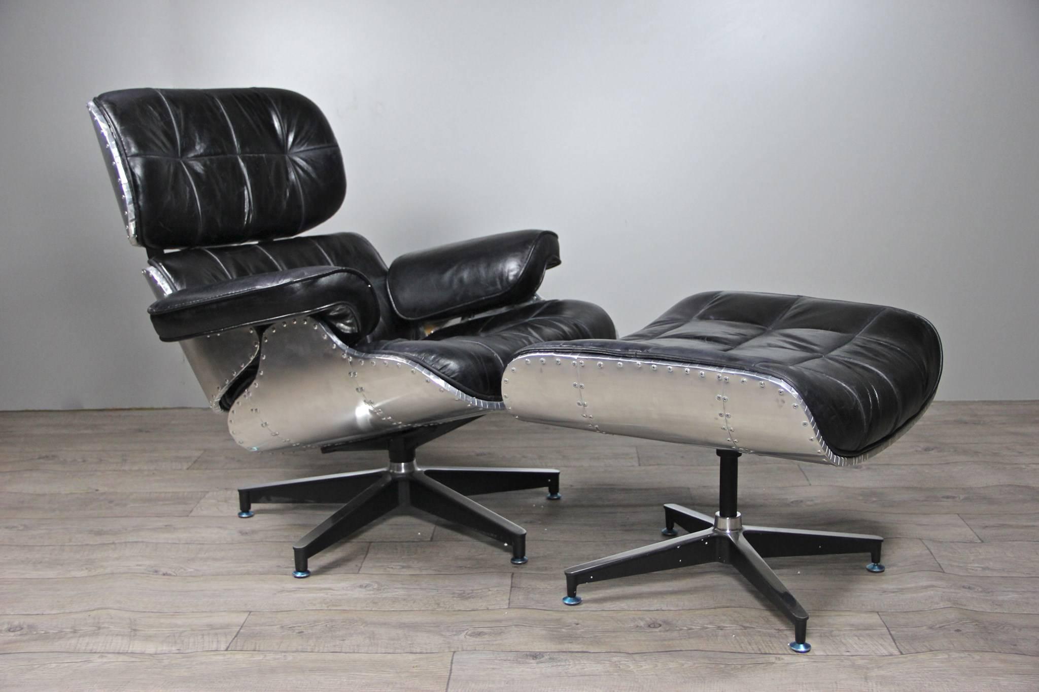 fauteuil aviateur lindbergh et repose pieds cuir noir fauteuils divans. Black Bedroom Furniture Sets. Home Design Ideas
