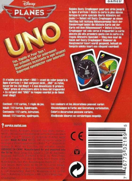 mattel bgg50 - uno disney planes kartenspiel - jeux