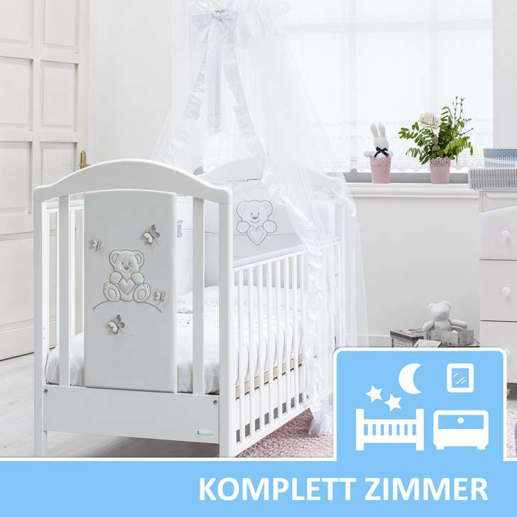 babyzimmer komplett mit textilien neu sophia mit babybett kinderzimmer komplett. Black Bedroom Furniture Sets. Home Design Ideas
