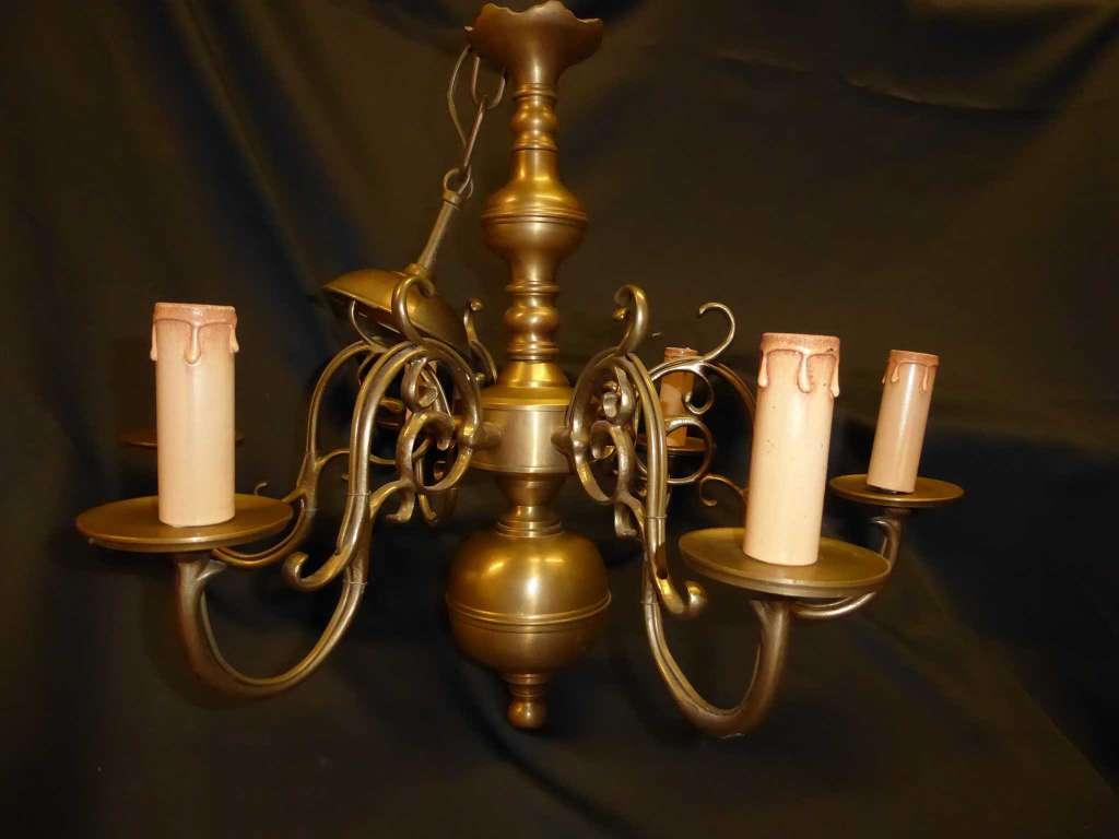 Lustre Hollandais 3 Appliques Bronze Lampes Anciennes