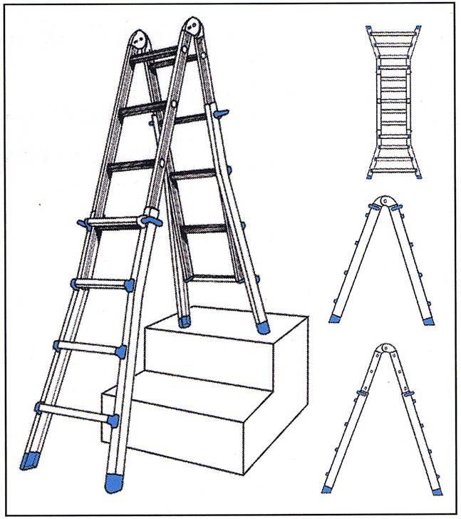 teleskop u treppenleiter 4x6 sprossen leitern. Black Bedroom Furniture Sets. Home Design Ideas