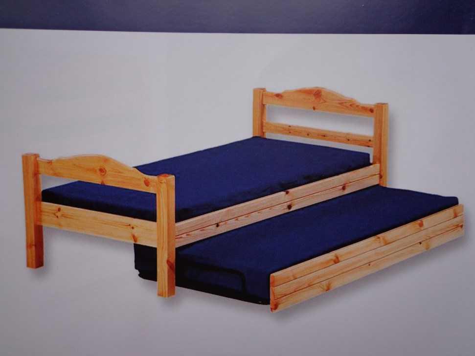 Lit gigogne en pin naturel 90 x 200 cm lits matelas - Matelas pour lit gigogne ...