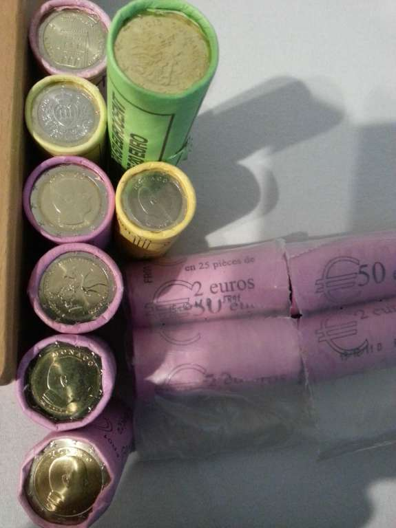 Gebe 2 1 Euro Münzen Monaco San Marino Ab Rollen Monnaies