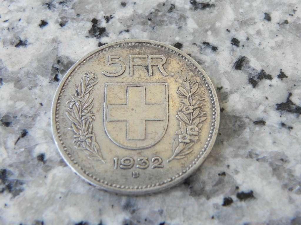Schweizer Silber Münze 1932 Chf 5 Monnaies Suisse Dès 1850
