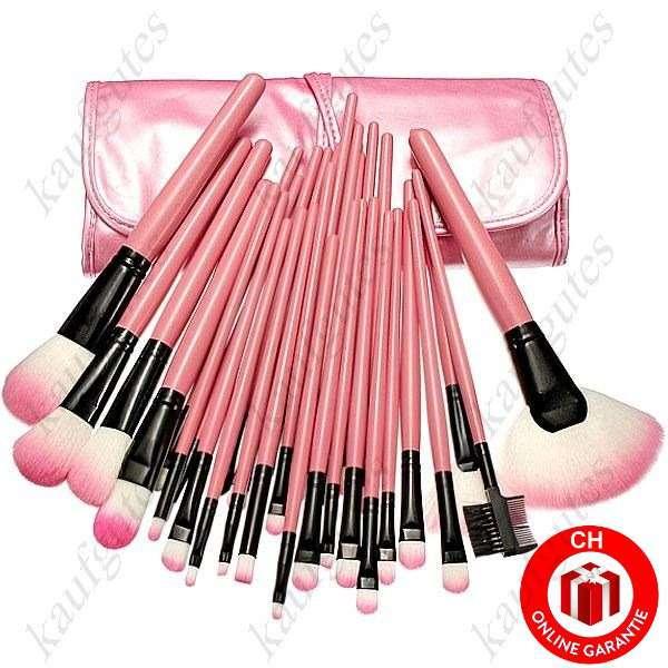 32 Teiliges Profi Kosmetik Makeup Pinsel Set Etui Pink Neu