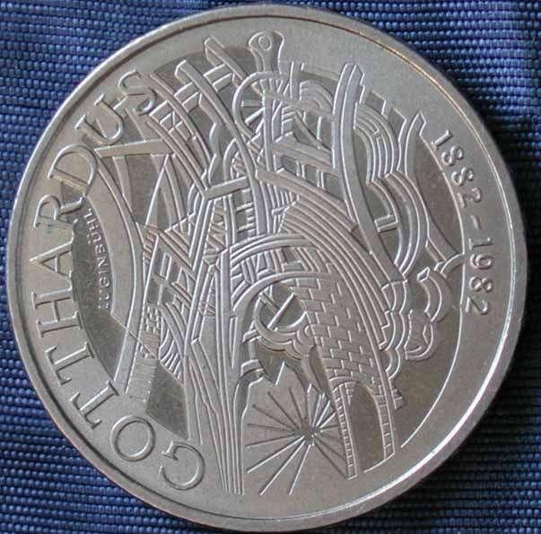 Sondermünze 5 Franken 1982 100 Jahre Gotthardus Schweizer Münzen