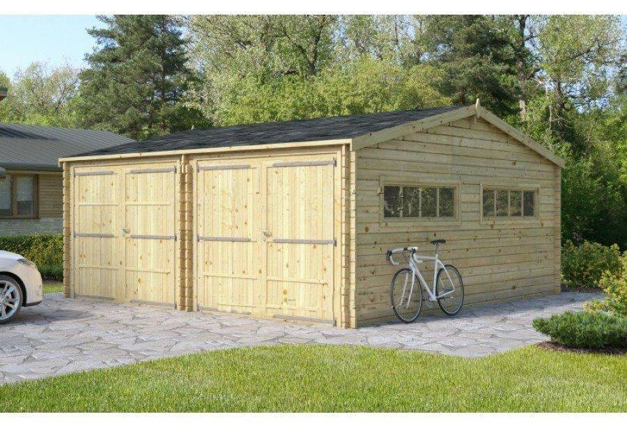 garage double 36m2 en bois 6x6m 44 mm services professionnels. Black Bedroom Furniture Sets. Home Design Ideas