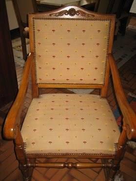 table de salon en ch ne massif sculpt 2 fauteuils sessel liegen. Black Bedroom Furniture Sets. Home Design Ideas