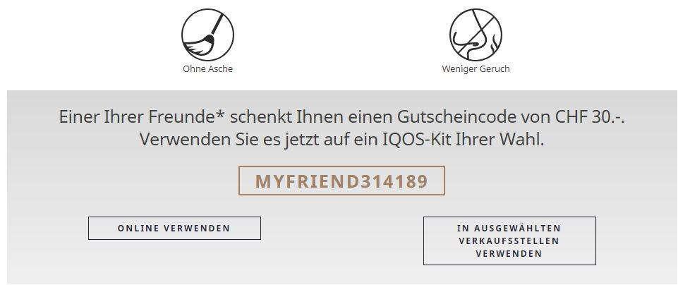 30 Franken Gutschein Für Iqos Set Gratis Sonstiges
