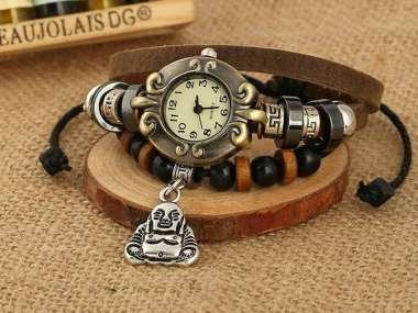 Buddha Uhr Leder Armbanduhr Hingucker Geschenk Armband