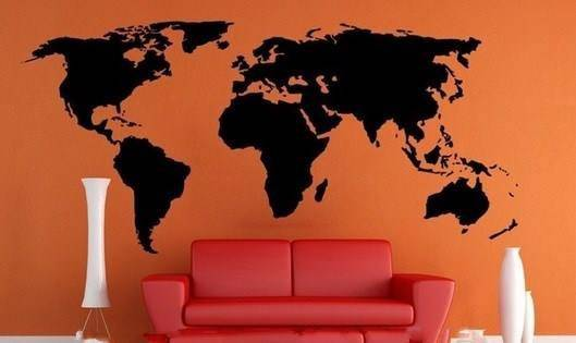 stickers carte du monde map monde stickers muraux. Black Bedroom Furniture Sets. Home Design Ideas