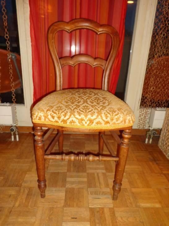Chaise ancienne bois avec assise velour jaune st hle - Chaise ancienne avec accoudoir ...