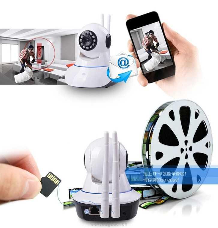 cam ra surveillance ip sans fil wifi 720p nocturne 2 antenne surveillance. Black Bedroom Furniture Sets. Home Design Ideas