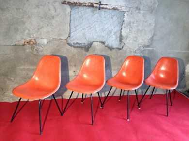 chaises eames oranges herman miller fibre de verre - tables & chaises - Chaise Eames Fibre De Verre