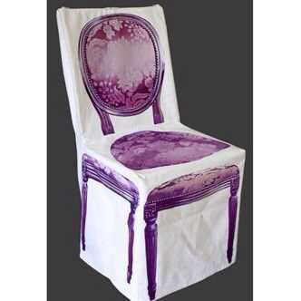 housse de chaise fiti b style baroque tissu rose violet. Black Bedroom Furniture Sets. Home Design Ideas