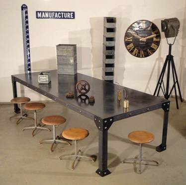 mobilier d 39 atelier table industrielle tables chaises. Black Bedroom Furniture Sets. Home Design Ideas