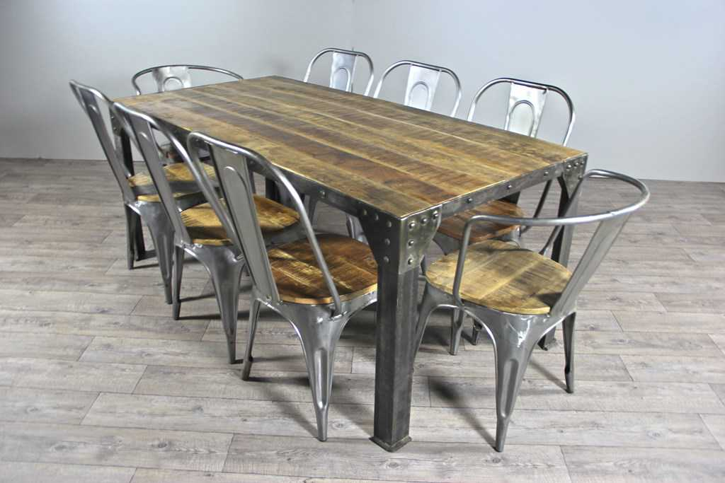 table de repas industriel 45 tables chaises. Black Bedroom Furniture Sets. Home Design Ideas