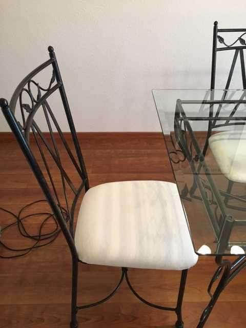 Table et chaises de salle manger fer forg tables - Salle a manger en fer forge et verre ...