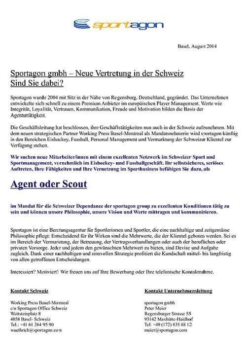Scouts (bevorzugt Eishockey) gesucht   Sportagon Schweiz   Job