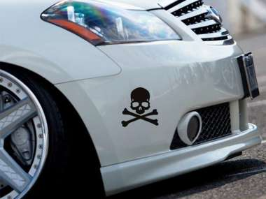 3d Auto Aufkleber Skull Silber Metallic