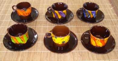 six tasses caf originales des ann es 70 vaisselle. Black Bedroom Furniture Sets. Home Design Ideas